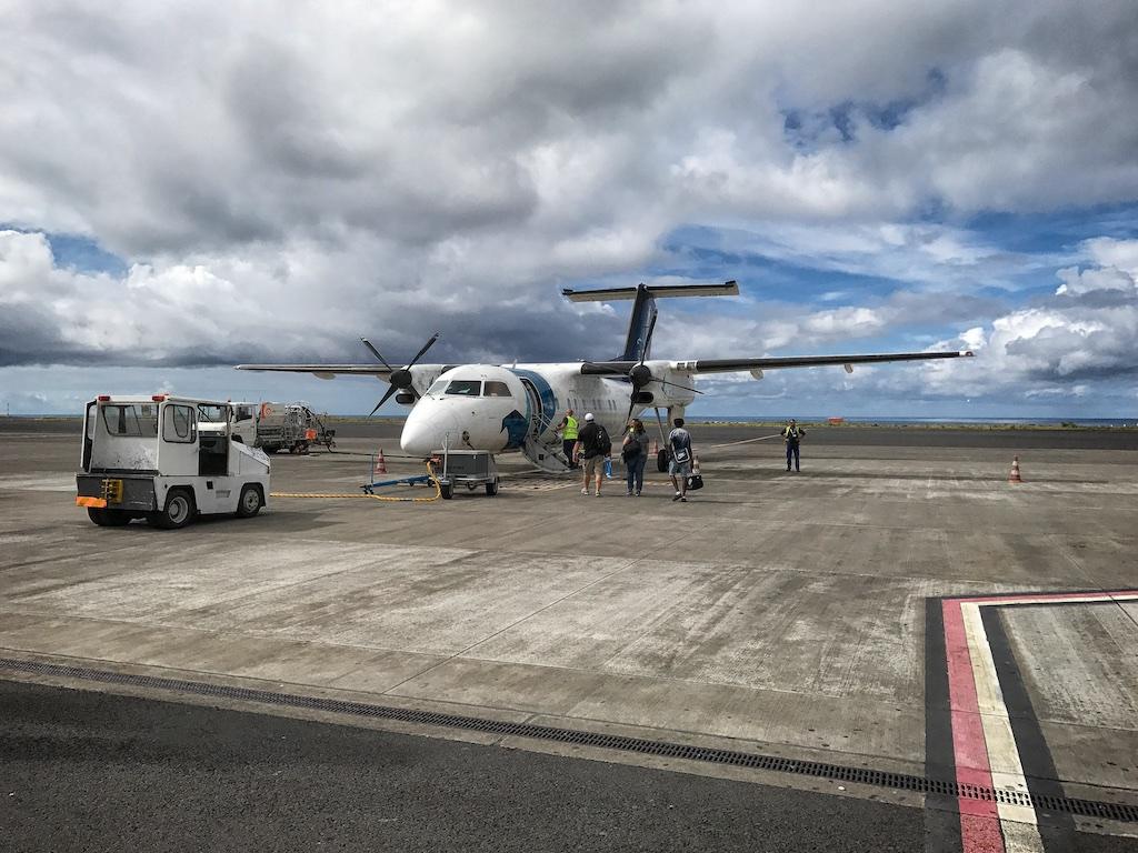 Unsere Bombardier Dash Q 200 mit der wir von São Miguel nach Corvo geflogen sind
